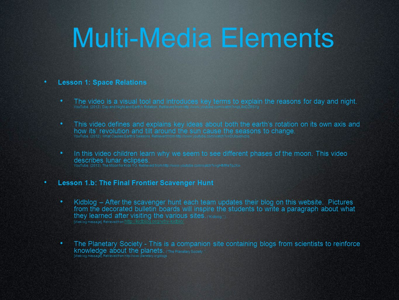 Multi-Media Elements Lesson 1: Space Relations