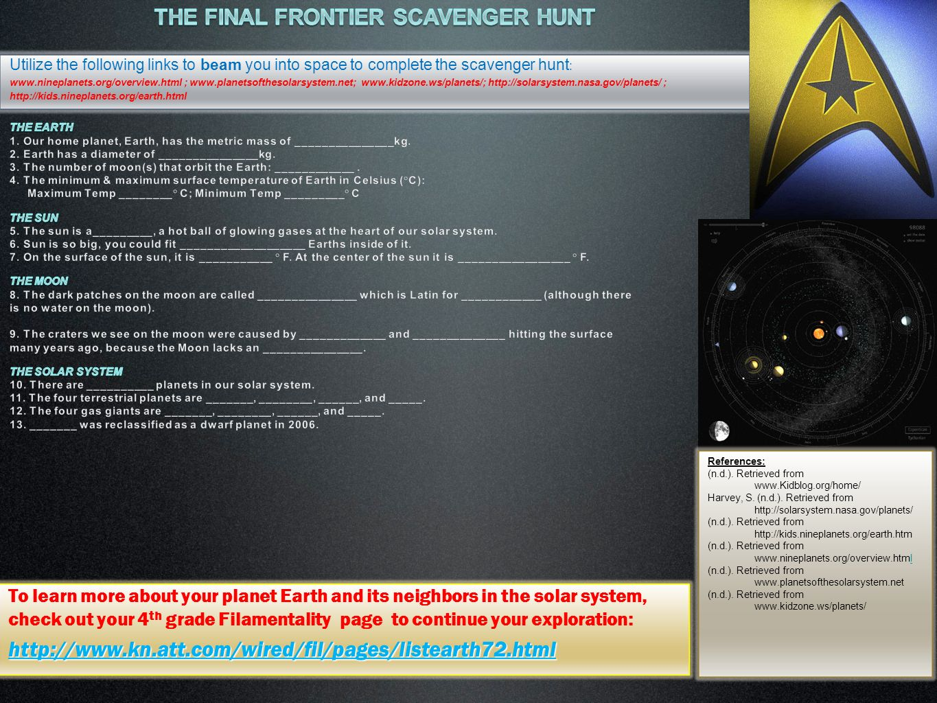 The final frontier Scavenger Hunt