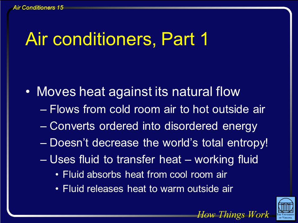 Air conditioners, Part 1 Moves heat against its natural flow