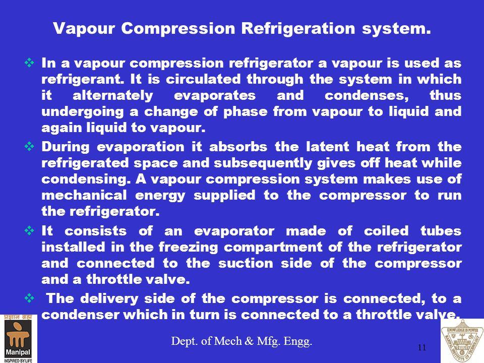 Vapour Compression Refrigeration system.