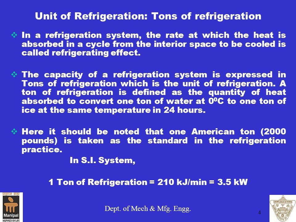 Unit of Refrigeration: Tons of refrigeration