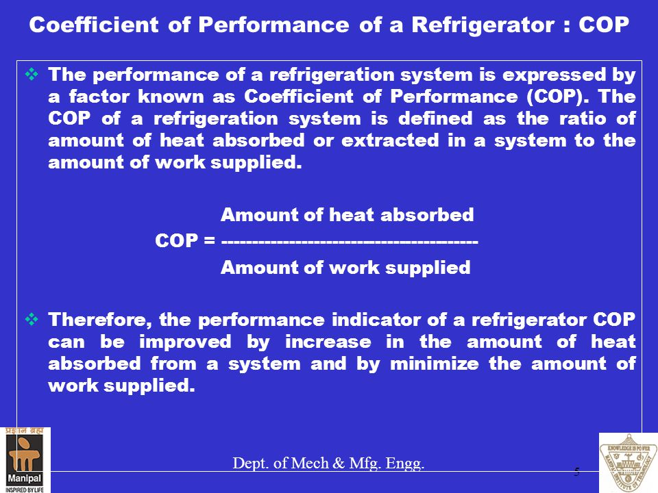 Coefficient of Performance of a Refrigerator : COP