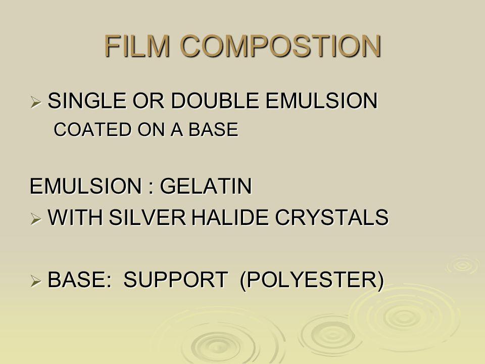 FILM COMPOSTION SINGLE OR DOUBLE EMULSION EMULSION : GELATIN