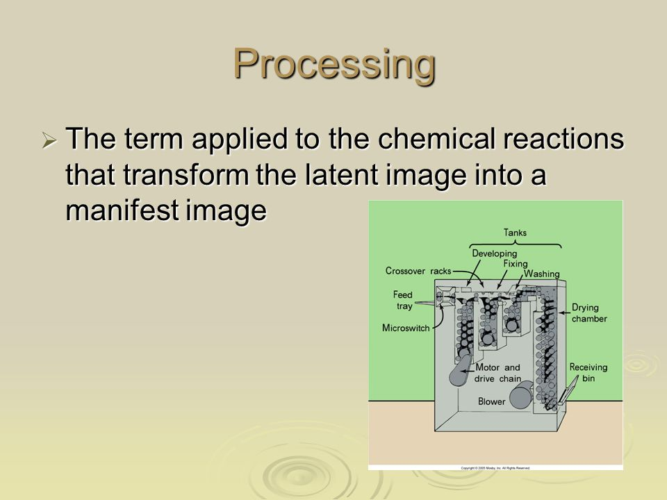 Processing The term applied to the chemical reactions that transform the latent image into a manifest image.