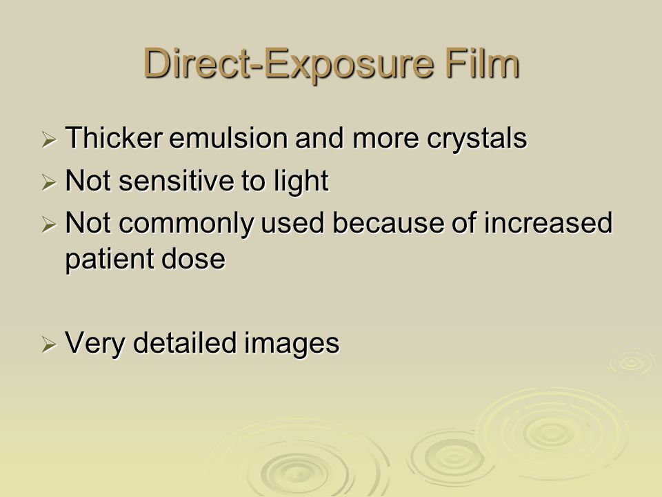 Direct-Exposure Film Thicker emulsion and more crystals