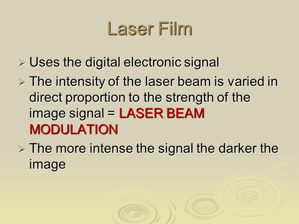 Laser Film Uses the digital electronic signal