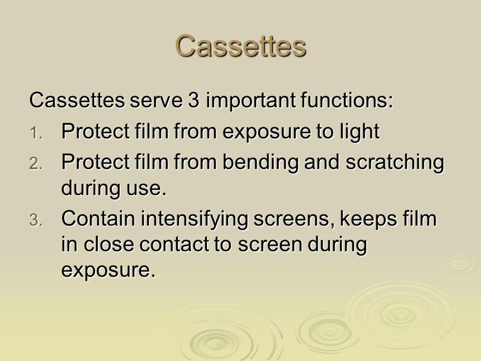 Cassettes Cassettes serve 3 important functions: