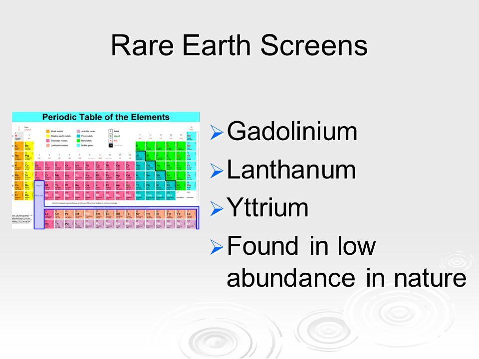 Rare Earth Screens Gadolinium Lanthanum Yttrium