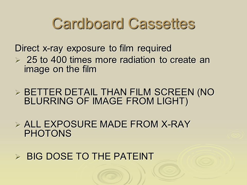 Cardboard Cassettes Direct x-ray exposure to film required