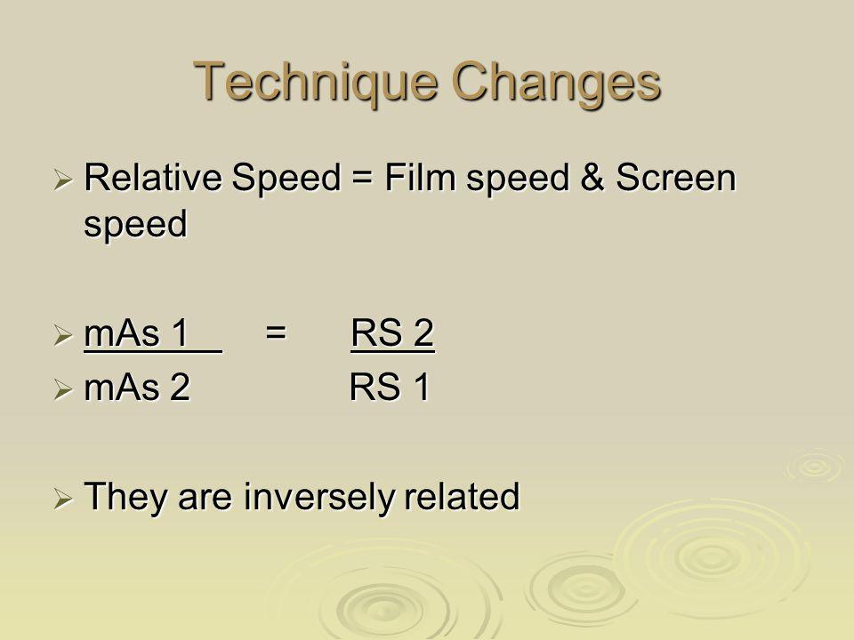 Technique Changes Relative Speed = Film speed & Screen speed