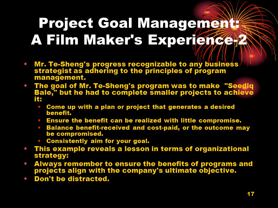 Project Goal Management: A Film Maker s Experience-2