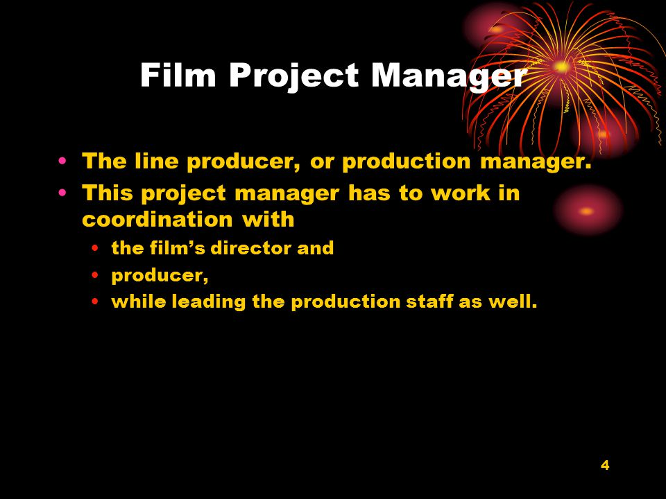 Film Project Manager The line producer, or production manager.