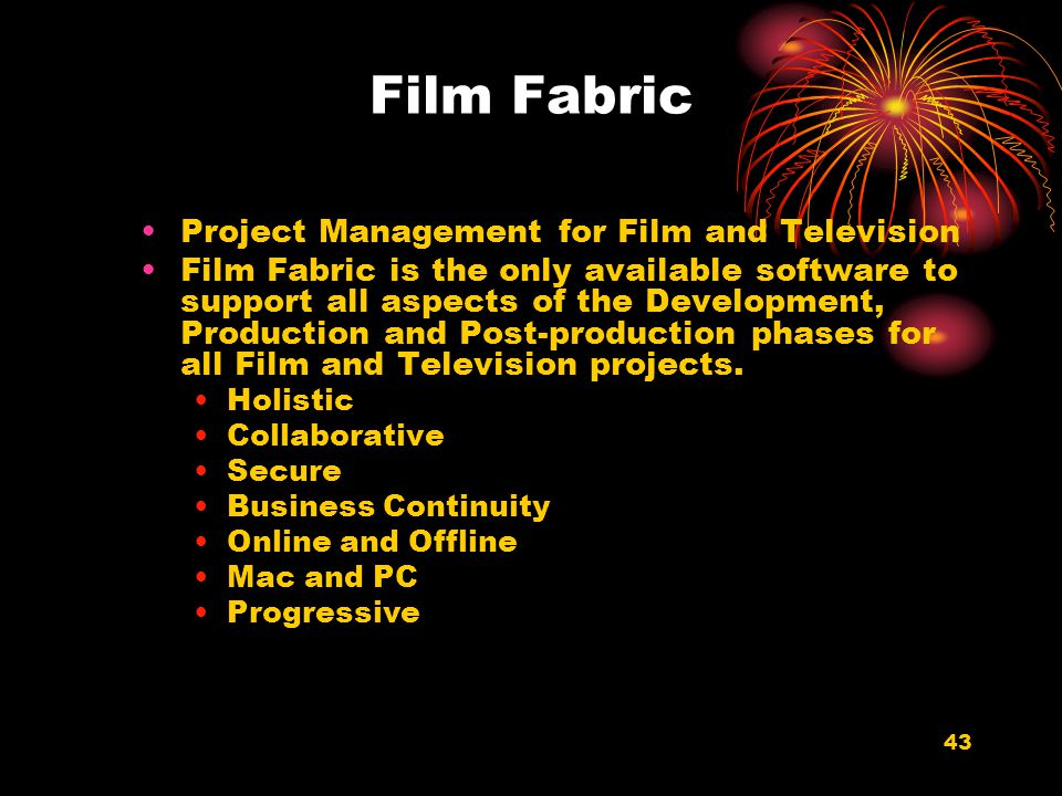 Film Fabric Project Management for Film and Television