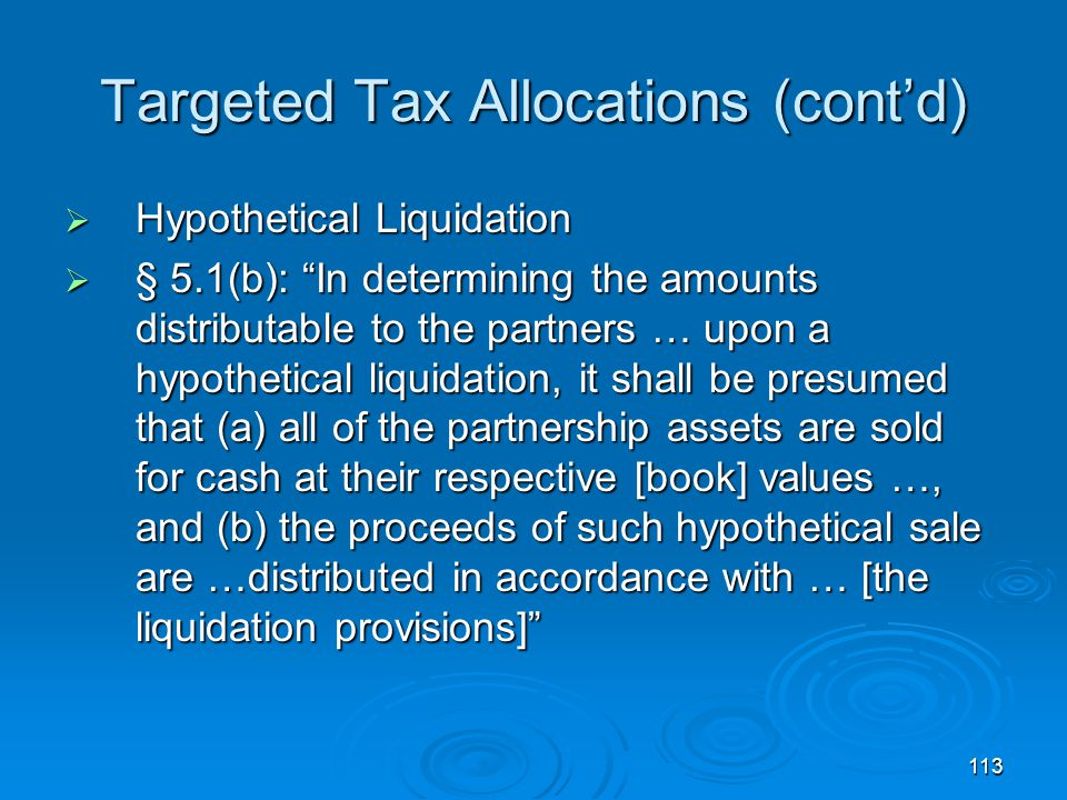 Targeted Tax Allocations (cont'd)
