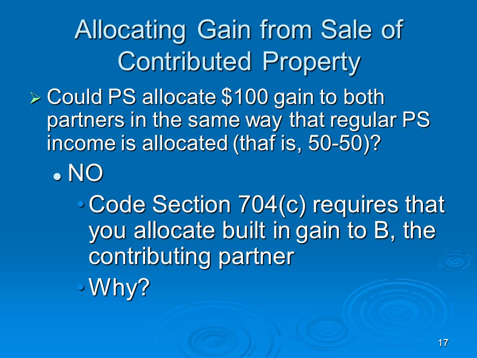 Allocating Gain from Sale of Contributed Property