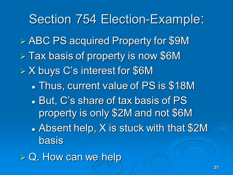 Section 754 Election-Example: