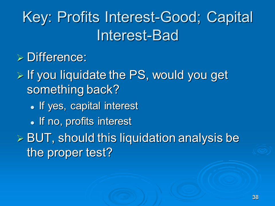 Key: Profits Interest-Good; Capital Interest-Bad