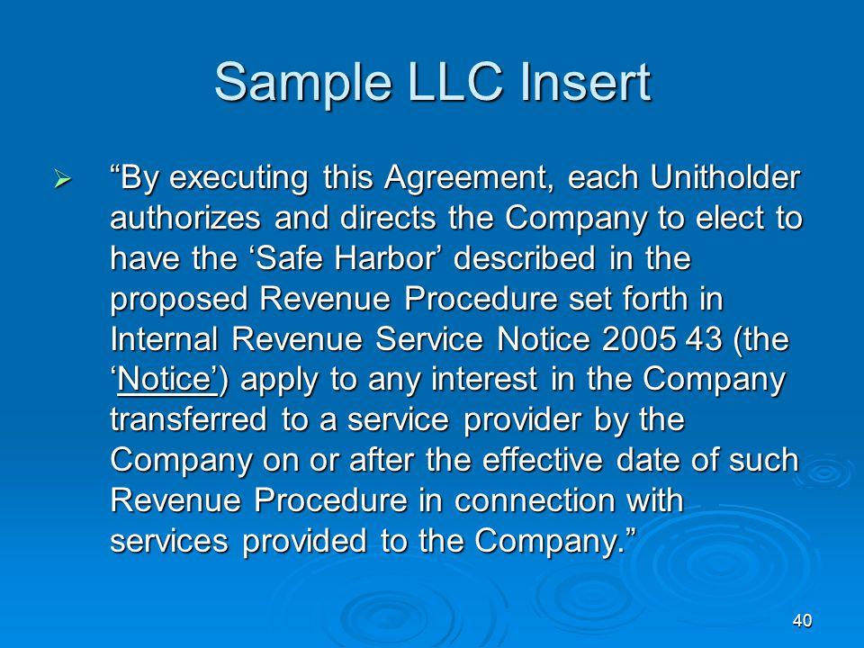 Sample LLC Insert