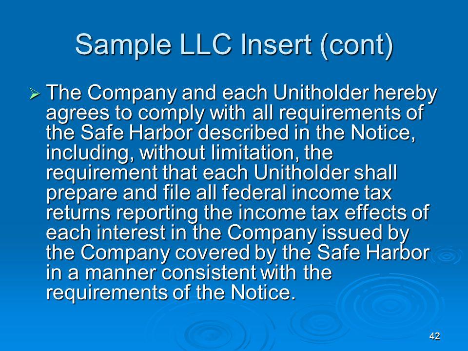 Sample LLC Insert (cont)