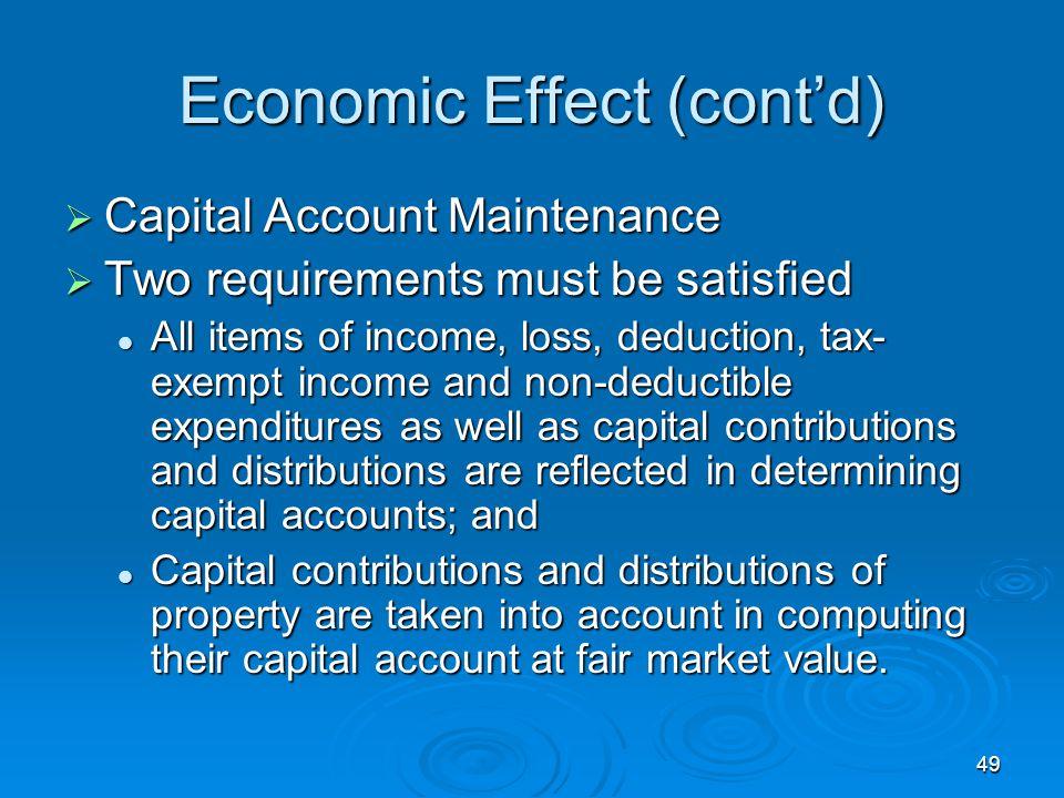 Economic Effect (cont'd)