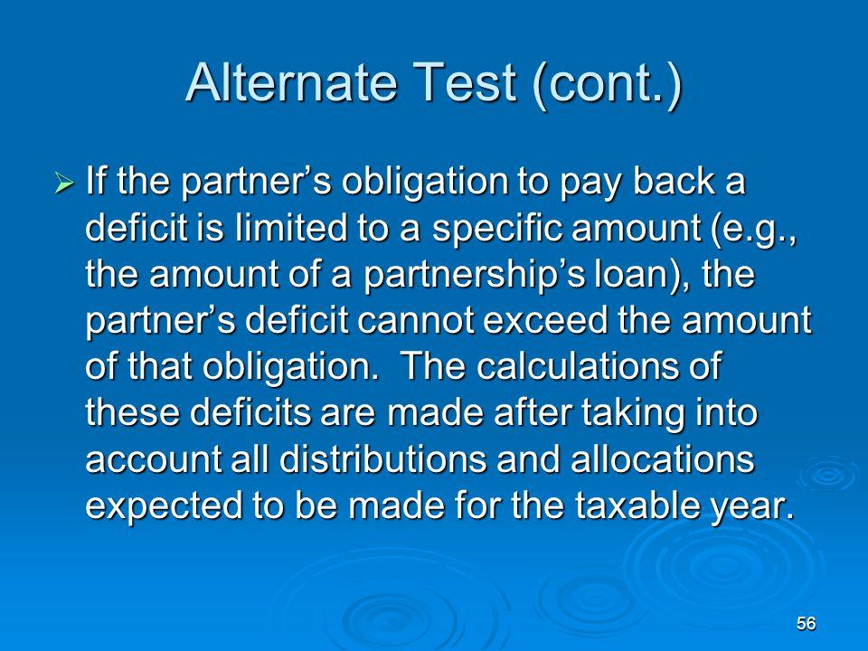 Alternate Test (cont.)