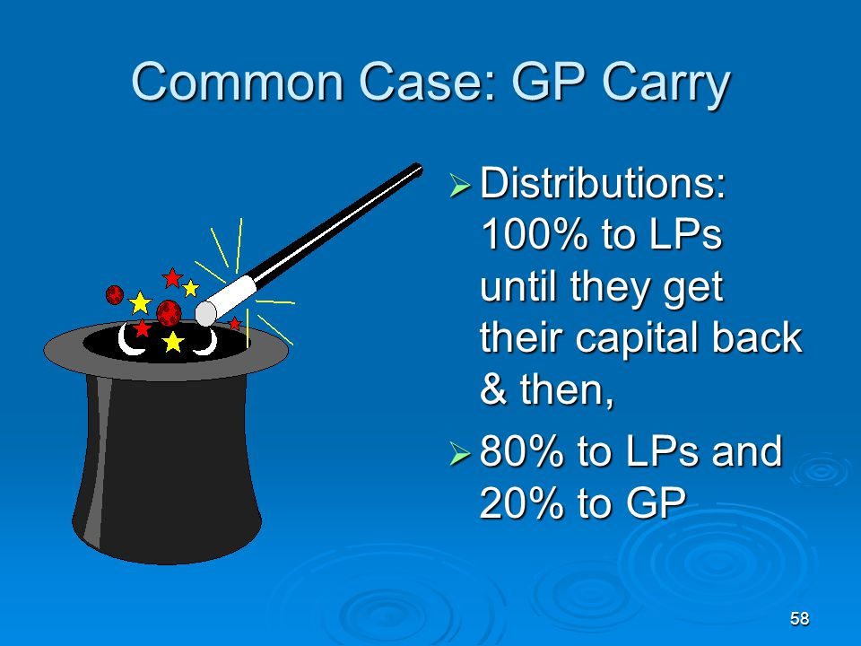 Common Case: GP Carry Distributions: 100% to LPs until they get their capital back & then, 80% to LPs and 20% to GP.