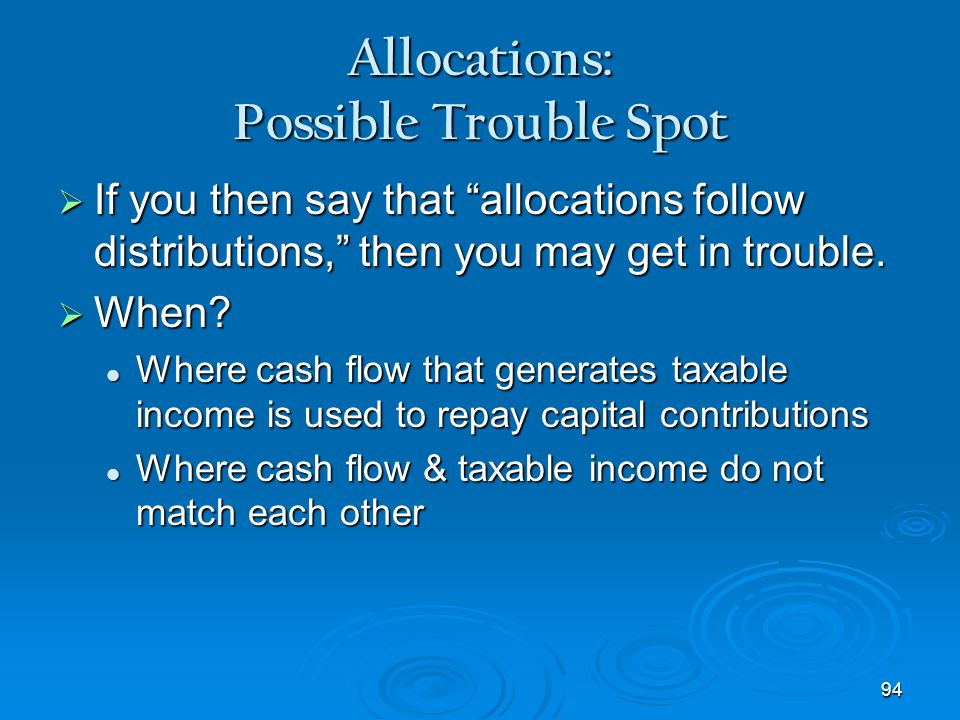 Allocations: Possible Trouble Spot