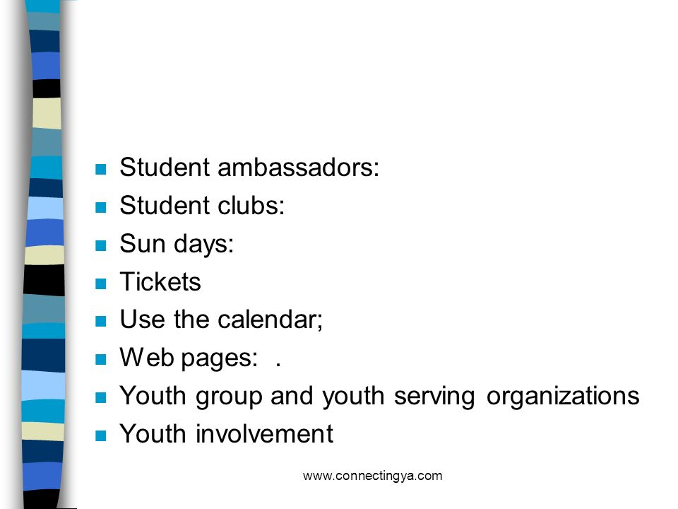 Youth group and youth serving organizations Youth involvement