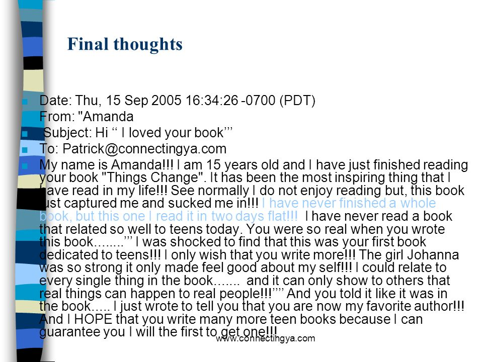Final thoughts Date: Thu, 15 Sep 2005 16:34:26 -0700 (PDT)