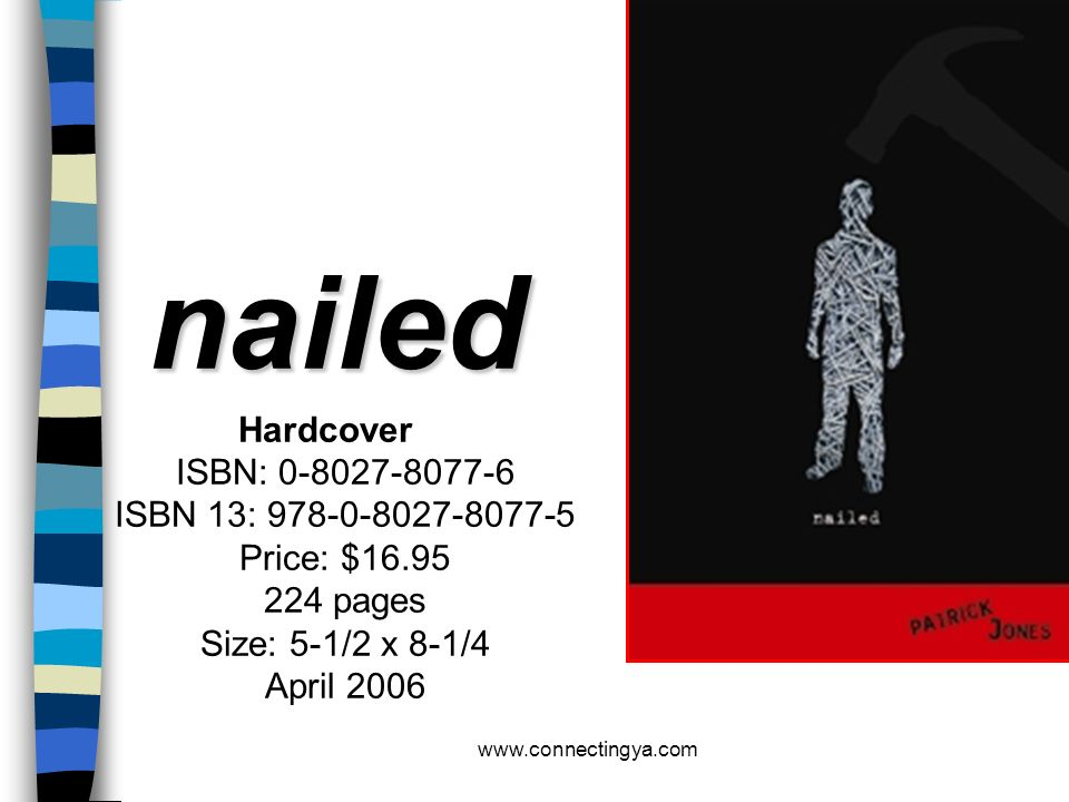 nailed Hardcover ISBN: 0-8027-8077-6 ISBN 13: 978-0-8027-8077-5 Price: $16.95 224 pages Size: 5-1/2 x 8-1/4 April 2006.