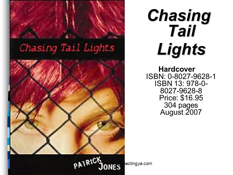 Chasing Tail Lights Hardcover ISBN: 0-8027-9628-1 ISBN 13: 978-0-8027-9628-8 Price: $16.95 304 pages August 2007.