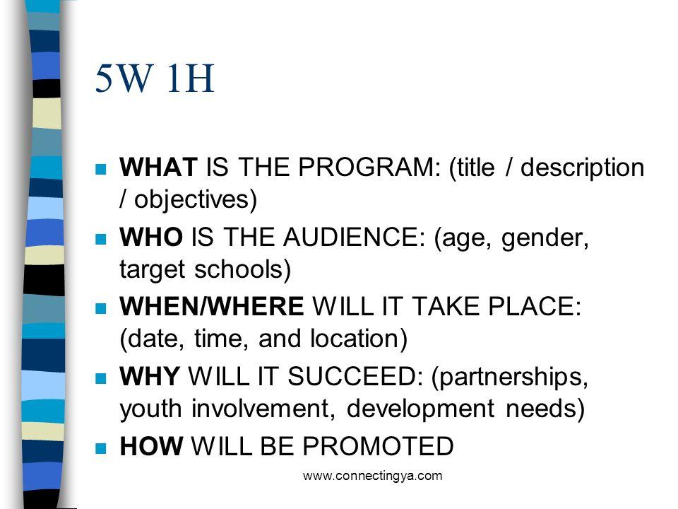 5W 1H WHAT IS THE PROGRAM: (title / description / objectives)