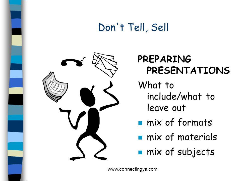 Don t Tell, Sell PREPARING PRESENTATIONS