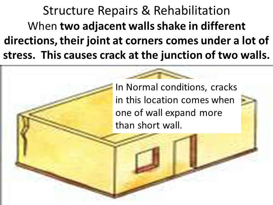 Structure Repairs & Rehabilitation When two adjacent walls shake in different directions, their joint at corners comes under a lot of stress. This causes crack at the junction of two walls.