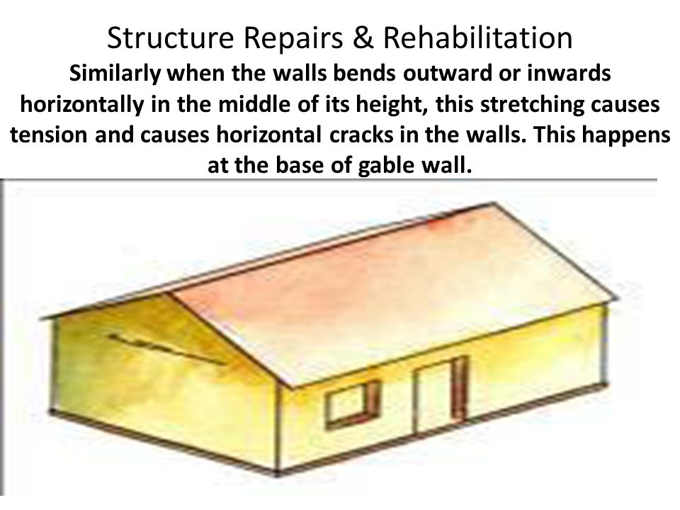 Structure Repairs & Rehabilitation Similarly when the walls bends outward or inwards horizontally in the middle of its height, this stretching causes tension and causes horizontal cracks in the walls.