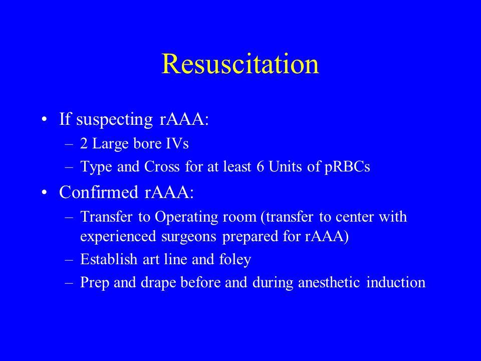 Resuscitation If suspecting rAAA: Confirmed rAAA: 2 Large bore IVs