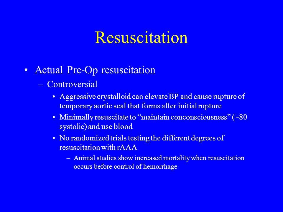 Resuscitation Actual Pre-Op resuscitation Controversial