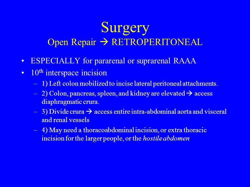 Surgery Open Repair  RETROPERITONEAL