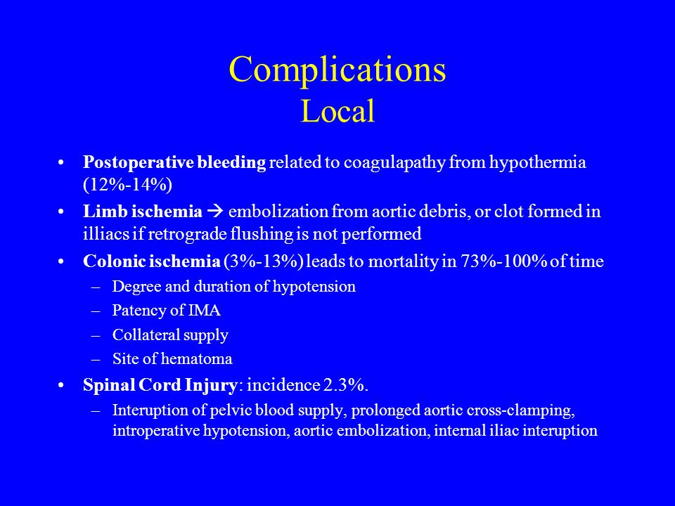 Complications Local Postoperative bleeding related to coagulapathy from hypothermia (12%-14%)