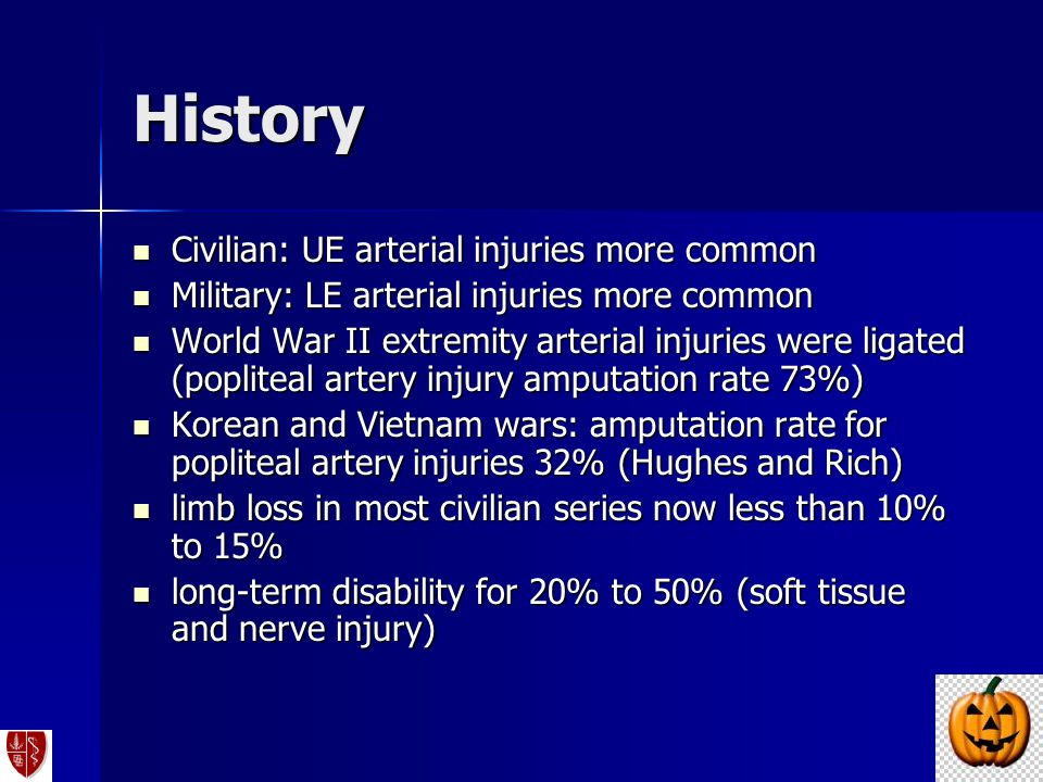 History Civilian: UE arterial injuries more common