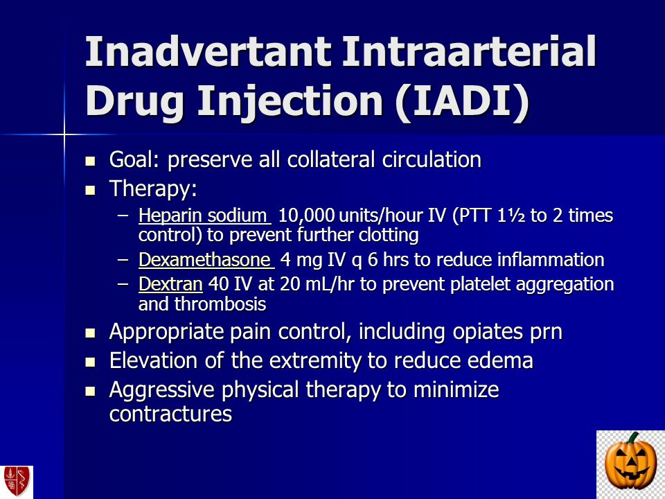 Inadvertant Intraarterial Drug Injection (IADI)