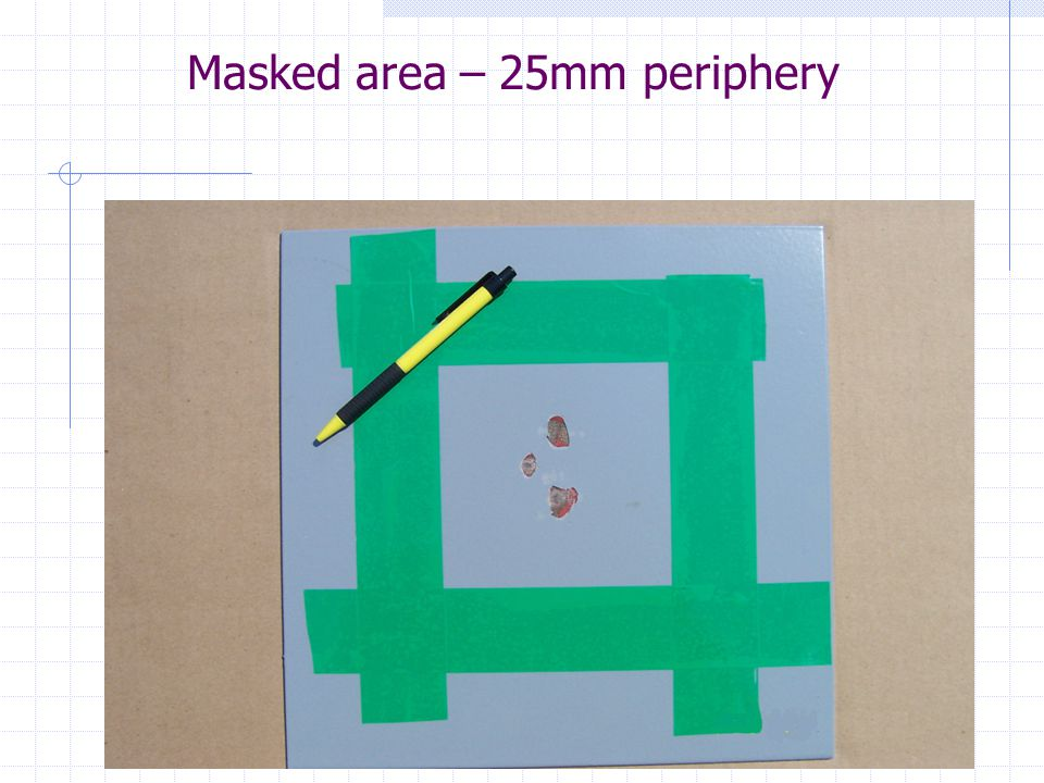 Masked area – 25mm periphery
