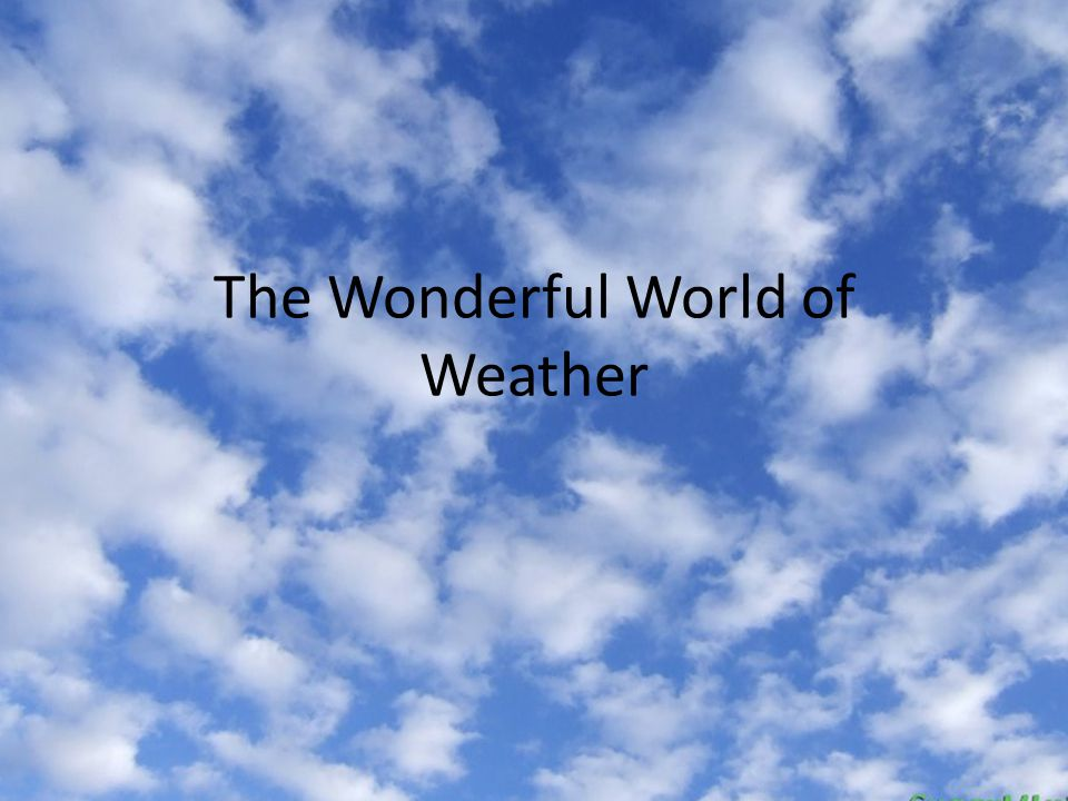 The Wonderful World of Weather