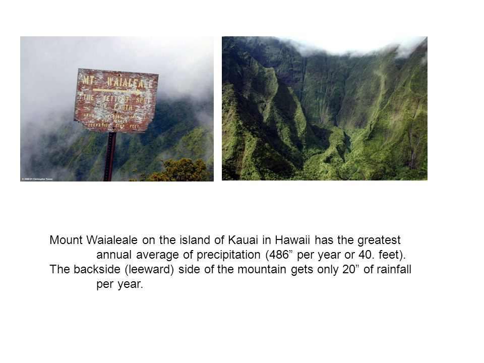 Mount Waialeale on the island of Kauai in Hawaii has the greatest