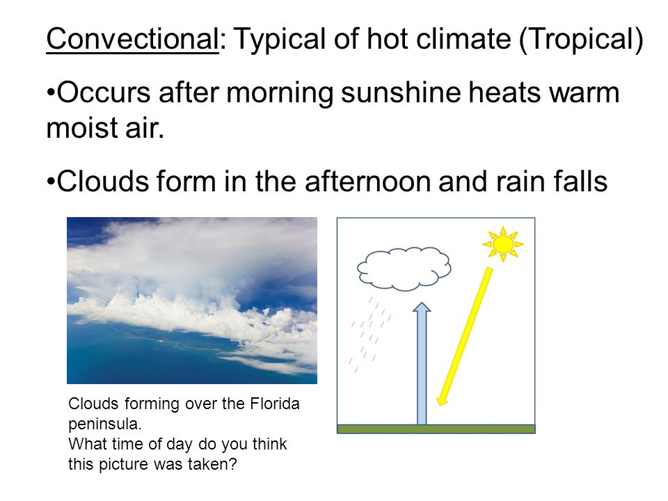 Convectional: Typical of hot climate (Tropical)