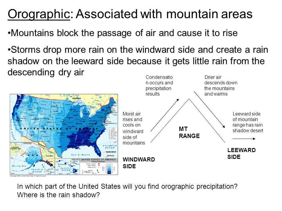 Orographic: Associated with mountain areas