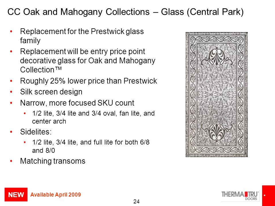 CC Oak and Mahogany Collections – Glass (Central Park)
