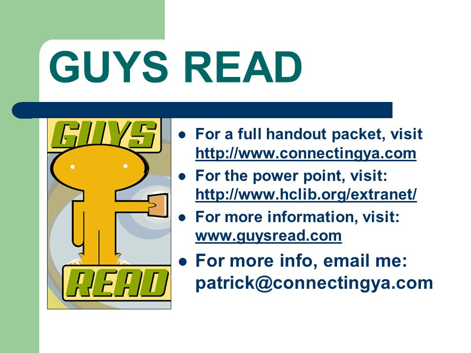 GUYS READ For more info, email me: patrick@connectingya.com
