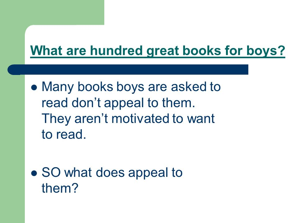 What are hundred great books for boys