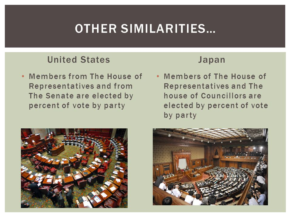 Other similarities… United States Japan